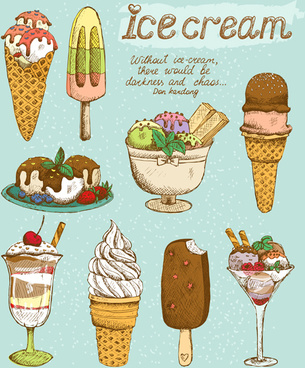 ice cream retro style icons vector