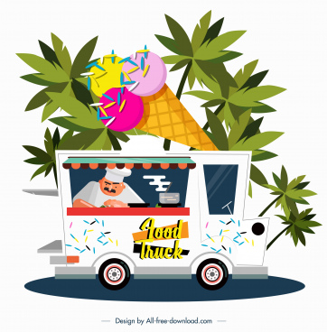 ice cream truck icon colored cartoon design