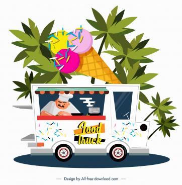 ice cream truck icon colored cartoon design