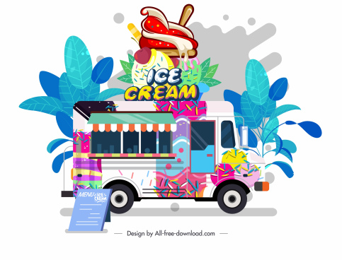 ice cream truck icon colorful classic design