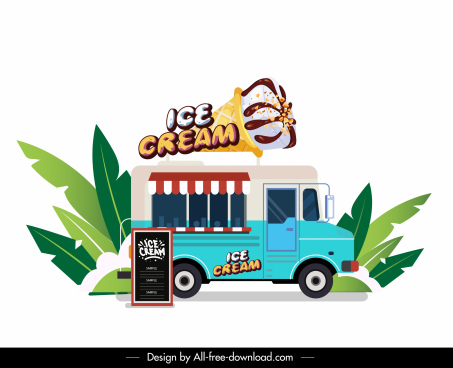 ice cream truck icon colorful flat sketch