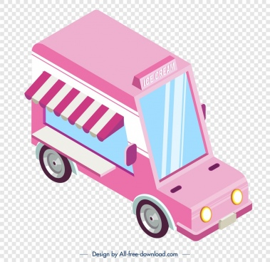 ice cream truck icon pink 3d design