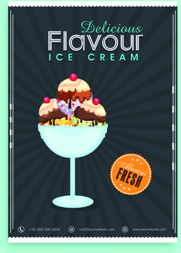 ice cream vintage poster vector