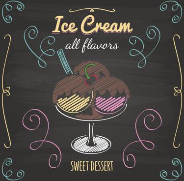 ice cream with blackboard menu cover vector