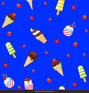 ice creams pattern colorful flat design fruits decor