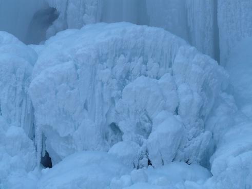 ice formations blue mushroom frozen