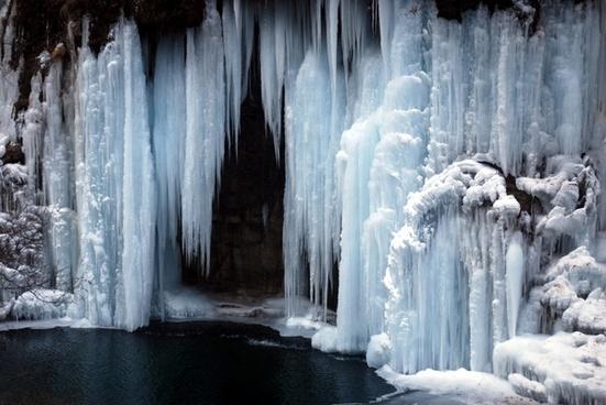 ice iced waterfall