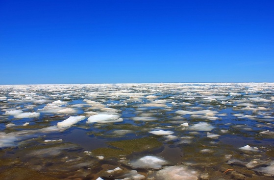 ice on lake superior at porcupine mountains state park michigan