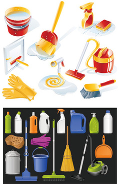 icon cleaning supplies vector
