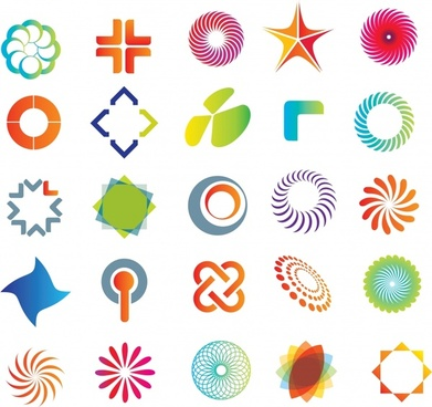 decorative icons collection colorful modern shapes
