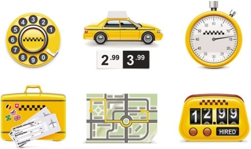icon taxi around 01 vector