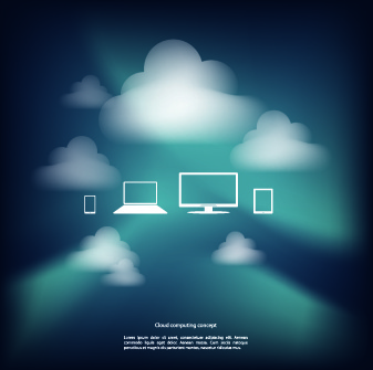 icons and cloud background vector
