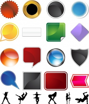 decorative icons modern colored geometric shapes people silhouettes