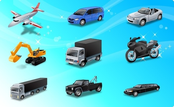 transport icons collection sparkling realistic design