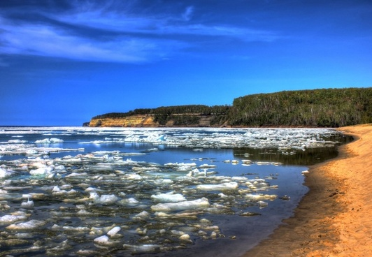 icy bay at pictured rocks national lakeshore michigan