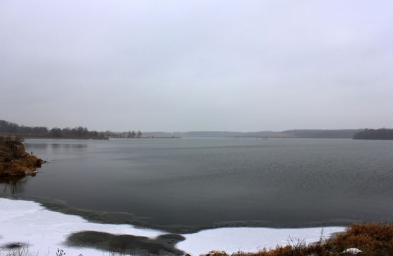 icy lake at shabbona lake state park illinois