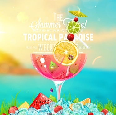 icy summer with cocktail background vector