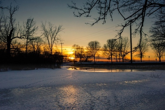 icy sunset at tenney park in madison wisconsin