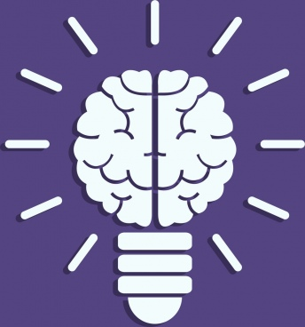idea concept background brain lightbulb icon flat design