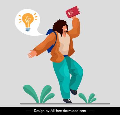 idea concept background joyful girl lightbulb sketch