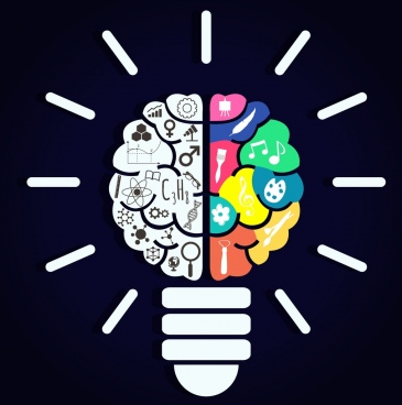 idea concept background lightbulb brain various icons decor