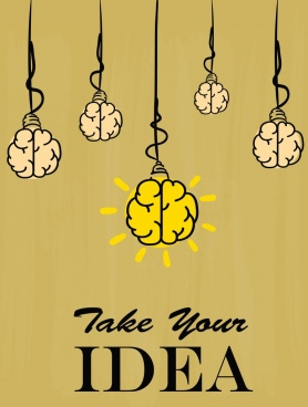 idea concept banner lightbulbs brain icons handdrawn design