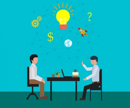 idea concept design colored lightbulbs office conversation theme