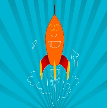 idea concept design cute rocket decoration cartoon style