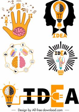 idea concept design elements colored flat symbols sketch