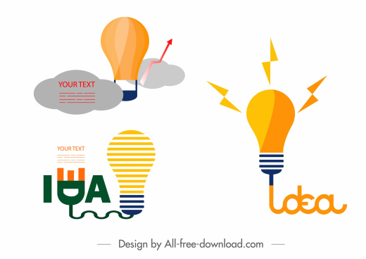 idea concept design elements flat lightbulb sketch