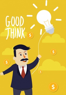 idea concept drawing businessman lightbulb currency icons