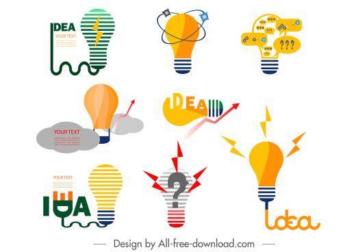 idea concept icons flat lightbulbs shapes colored design