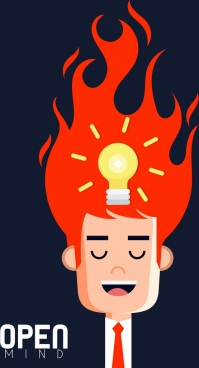idea conceptual background lightbulb fire head icons
