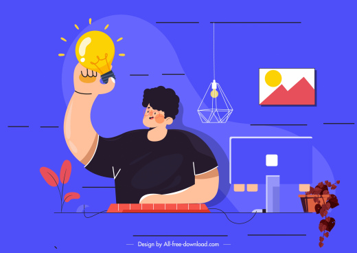 idea conceptual background man lightbulb icons cartoon sketch