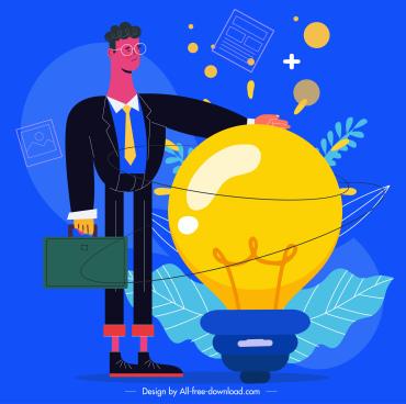 idea conceptual painting businessman lightbulk sketch cartoon design