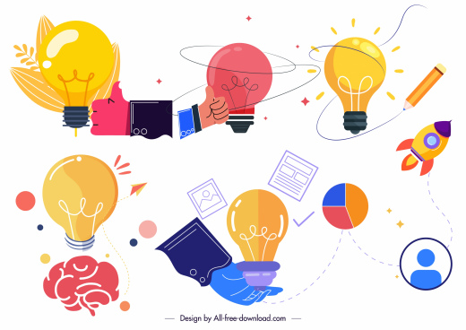 idea elements icons lightbulb brain hand sketch