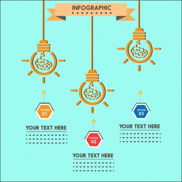 idea infographic design hanging lightbulb sketch decoration