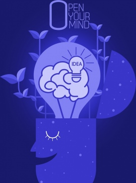 idea poster dark blue brain head lightbulb icons