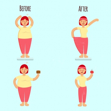 ideal weight concept banner fat thin woman icons