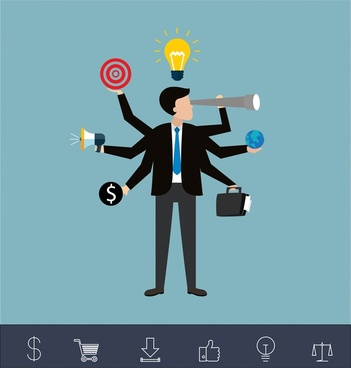 ideas achievement concept design with businessman and icons