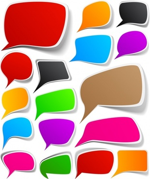 speech bubbles templates colorful modern flat deformed shapes