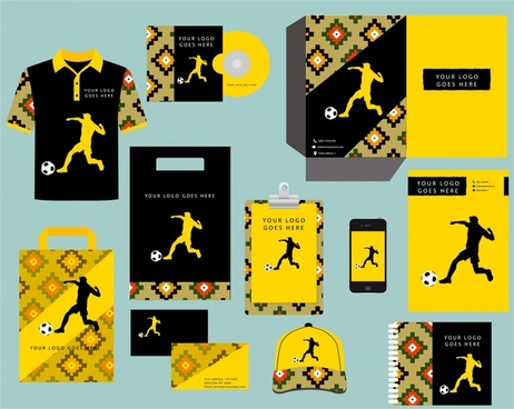 identity corporate sets silhouette soccer player design