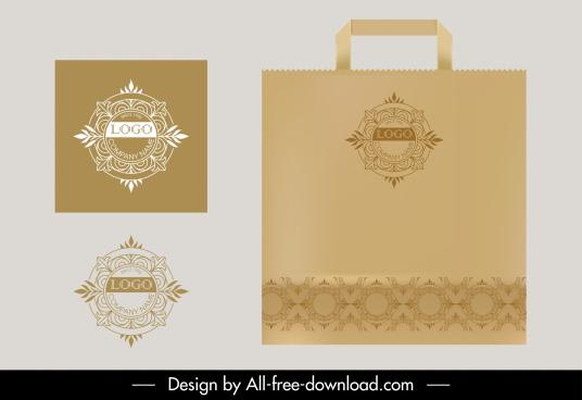 identity logo template elegant classic european floral symmetry