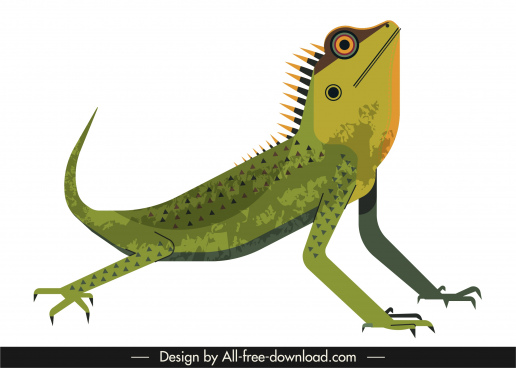 iguana animal icon colored classic sketch