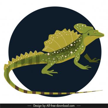 iguana icon dark 3d classic design
