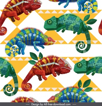 iguana pattern colorful modern repeating design