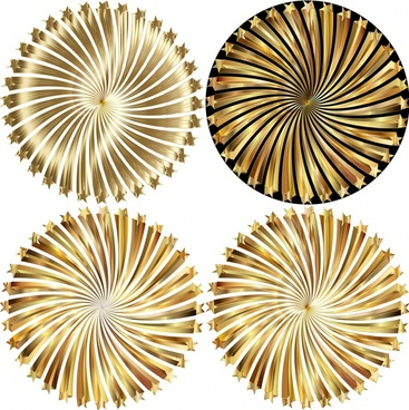 illusion decoration circles with shiny swirling golden illustration