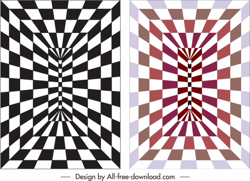 illusive backgrounds deformed geometric checkered 3d decor
