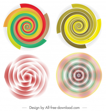 illusive decorative templates colorful dynamic spiral curves decor