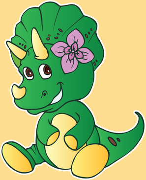 illustration of a cute dinasour cartoons character in colorful vector